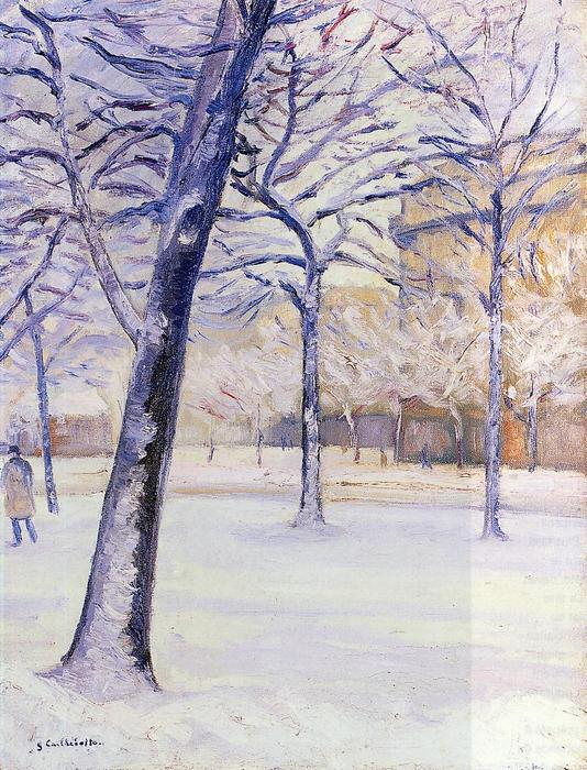 famous painting Park in the Snow of Gustave Caillebotte
