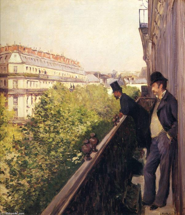 famous painting A Balcony, Boulevard Haussmann of Gustave Caillebotte