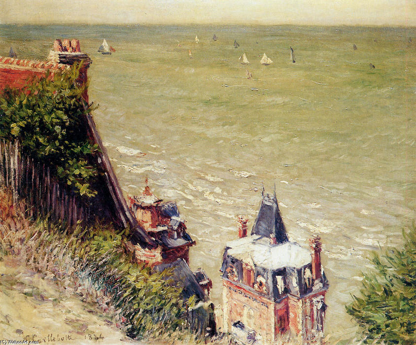 famous painting The Pink villa at Trouville of Gustave Caillebotte