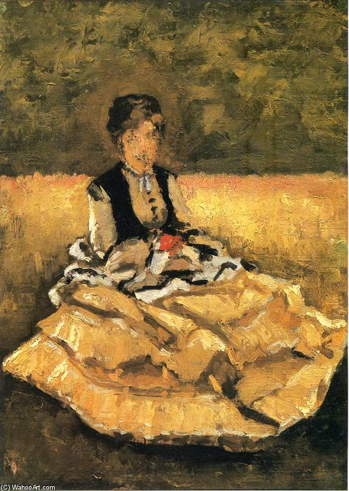 famous painting Woman Seated on the Lawn of Gustave Caillebotte
