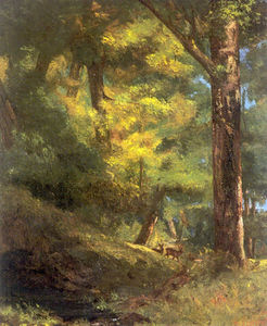 Gustave Courbet - Two Roe Deers in the Forest