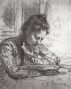 Ilya Yefimovich Repin - Reading (Portrait of Natalia B. Nordman)