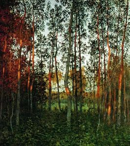 Isaak Ilyich Levitan - The last rays of the sun. Aspen forest.