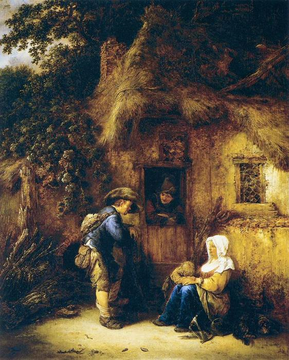famous painting Traveller at a Cottage Door of Isaac Van Ostade