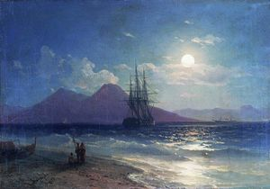 Ivan Aivazovsky - View of the sea at night