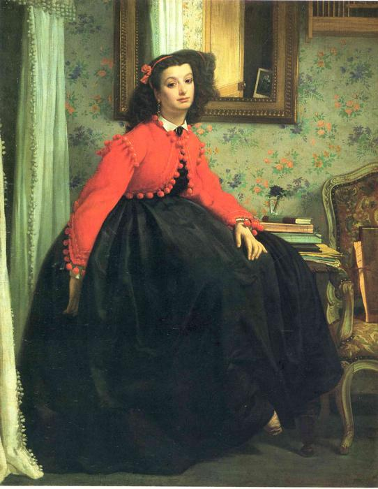 famous painting Portrait of Mlle. L.L. (Young Lady in a Red Jacket) of James Jacques Joseph Tissot