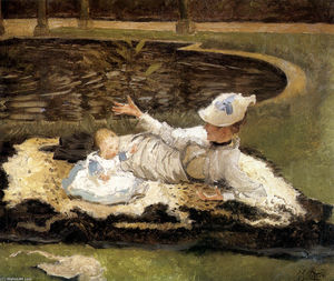 James Jacques Joseph Tissot - Mrs. Newton with a child by a pool