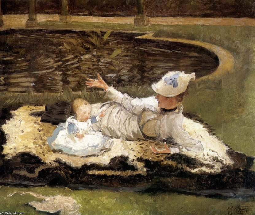 famous painting Mrs. Newton with a child by a pool of James Jacques Joseph Tissot