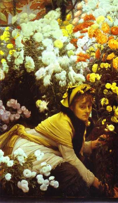 famous painting Chrysanthemums of James Jacques Joseph Tissot
