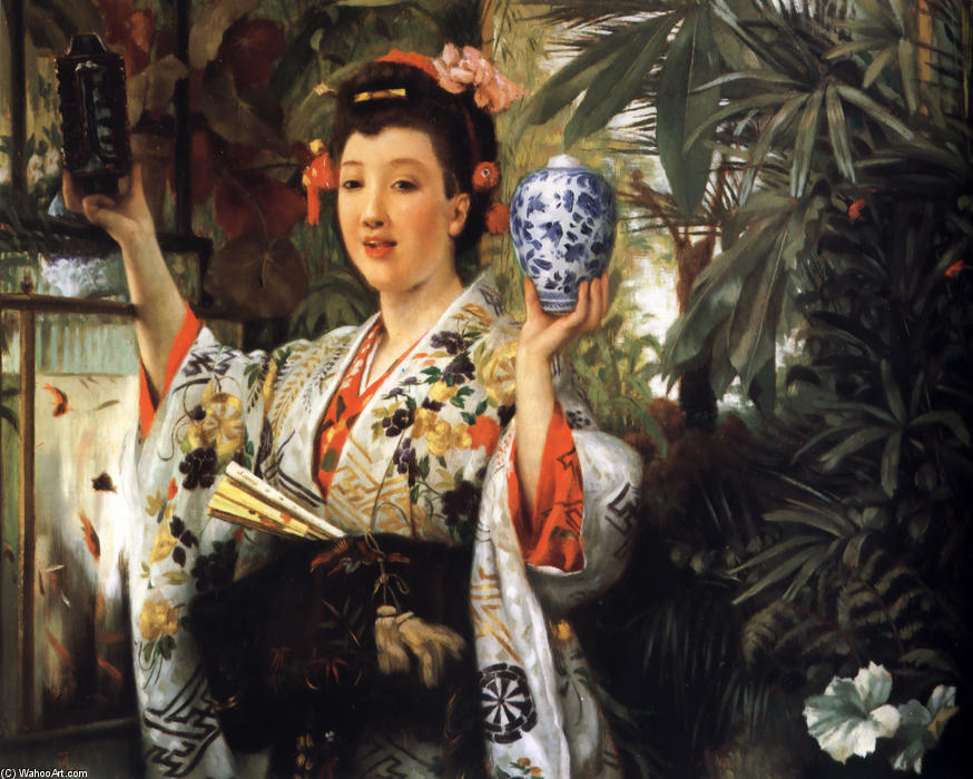 famous painting The Japanese Vase of James Jacques Joseph Tissot