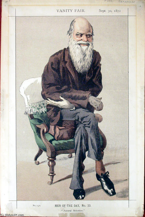 Order Paintings Reproductions Impressionism | Caricature of Charles Darwin from Vanity Fair magazine by James Jacques Joseph Tissot | TopImpressionists.com
