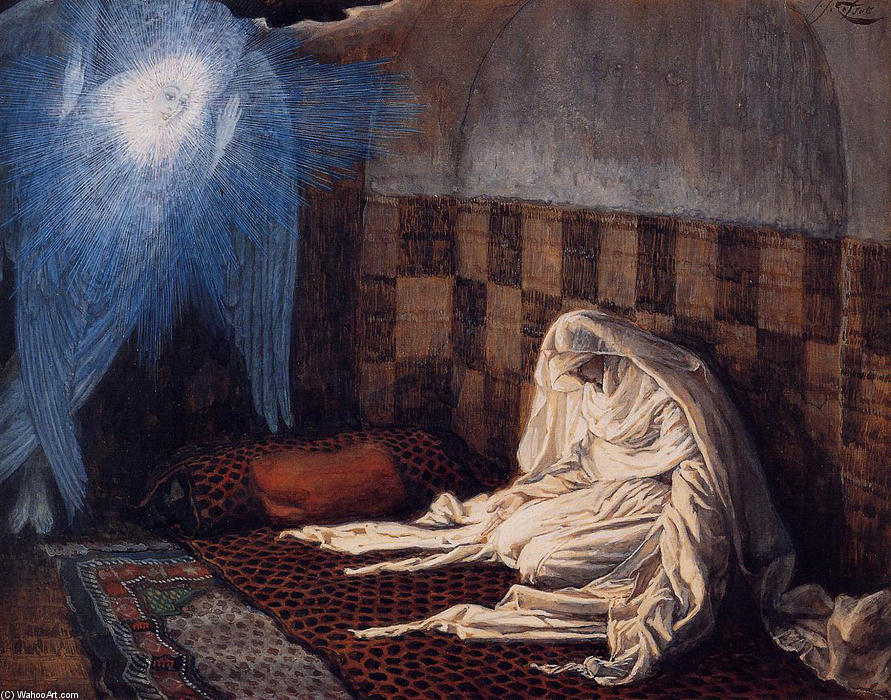famous painting Annunciation, illustration for 'The Life of Christ' of James Jacques Joseph Tissot