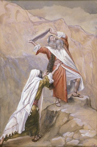 famous painting Moses Destroys the Tables of the Ten Commandments of James Jacques Joseph Tissot
