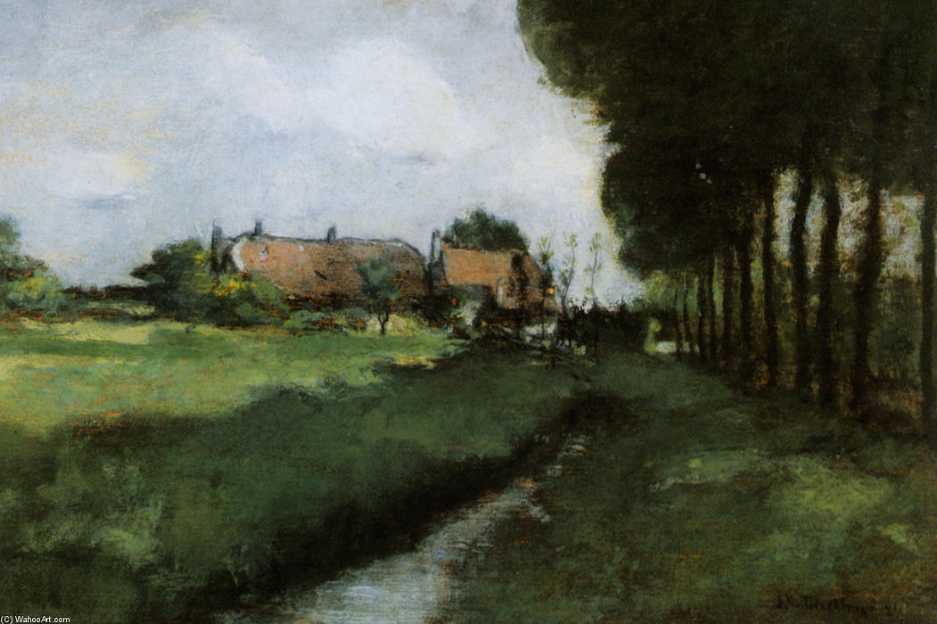 famous painting Landscape With Houses and Stream of John Henry Twachtman