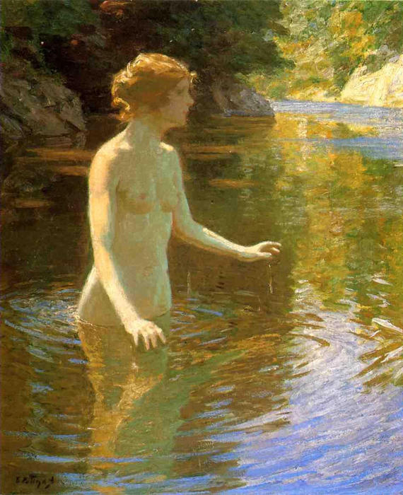 famous painting Enchanted Pool of John Henry Twachtman