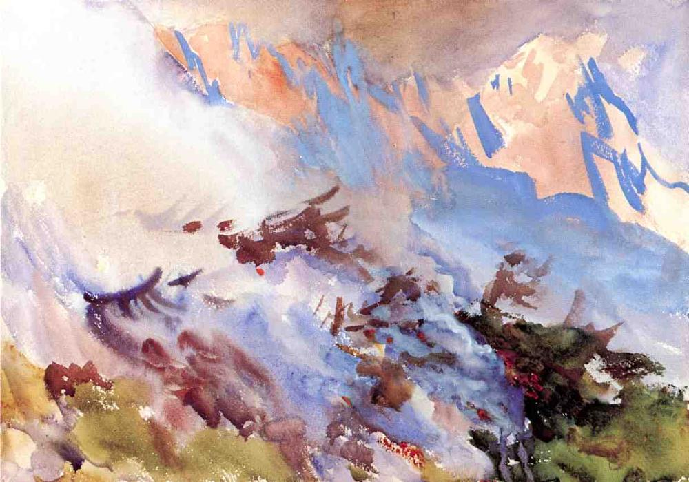 famous painting Mountain Fire of John Singer Sargent