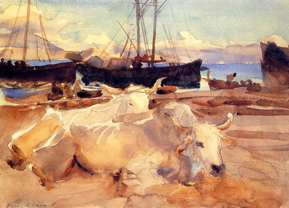famous painting Oxen on the Beach at Baia of John Singer Sargent