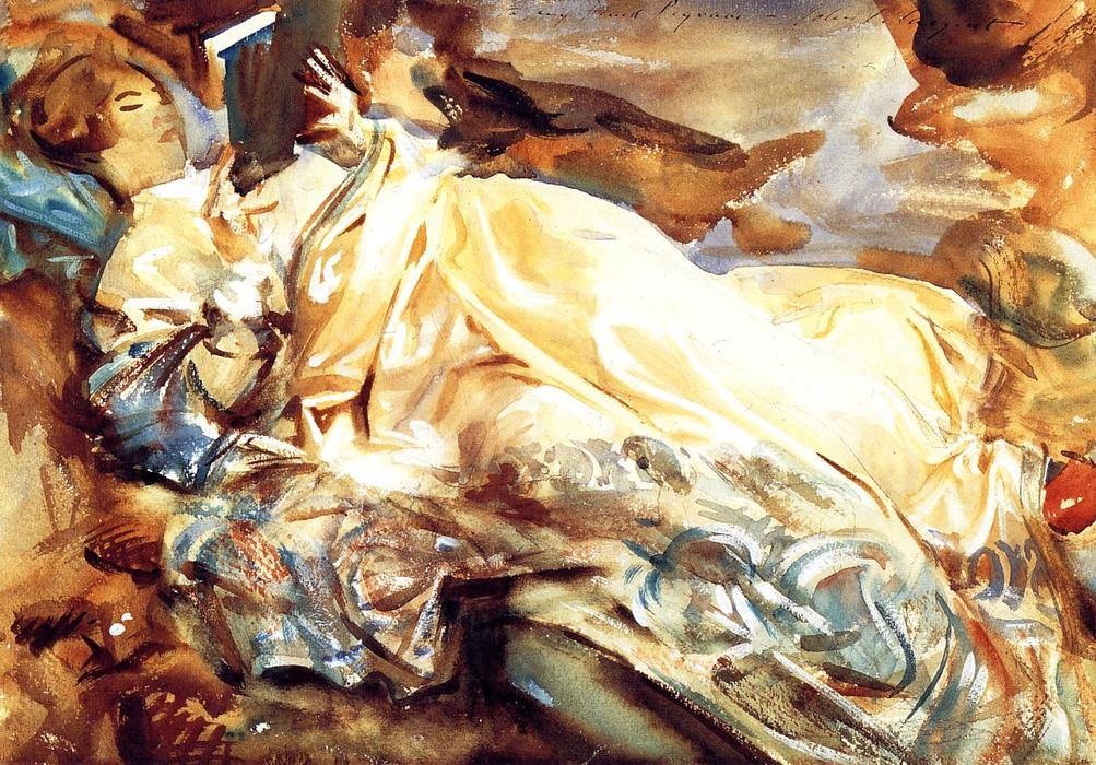 famous painting Woman Reading in a Cashmere Shawl of John Singer Sargent
