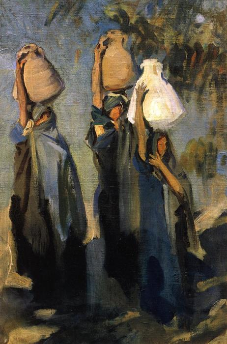 famous painting Bedouin Women Carrying Water Jars of John Singer Sargent