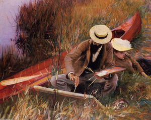 John Singer Sargent - Paul Helleu Sketching his Wife