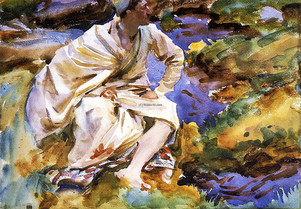 famous painting A Man Seated by a Stream of John Singer Sargent