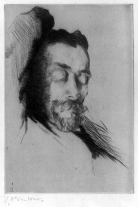 famous painting Drypoint portrait of American painter Theodore Robinson of Julian Alden Weir