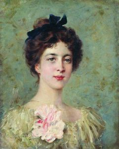 Konstantin Yegorovich Makovsky - Portrait of the Young Lady with Pink Bow