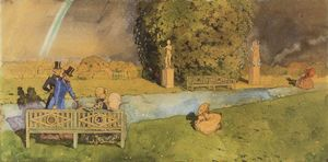 Konstantin Somov - Promenade after Rain 1