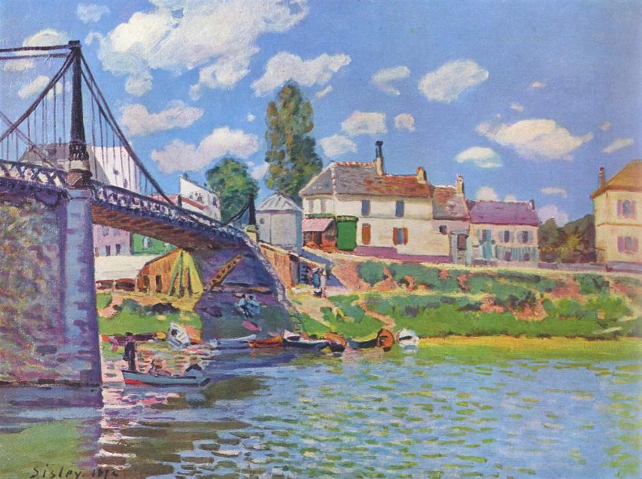 famous painting Bridge at Villeneuve la Garenne of Alfred Sisley