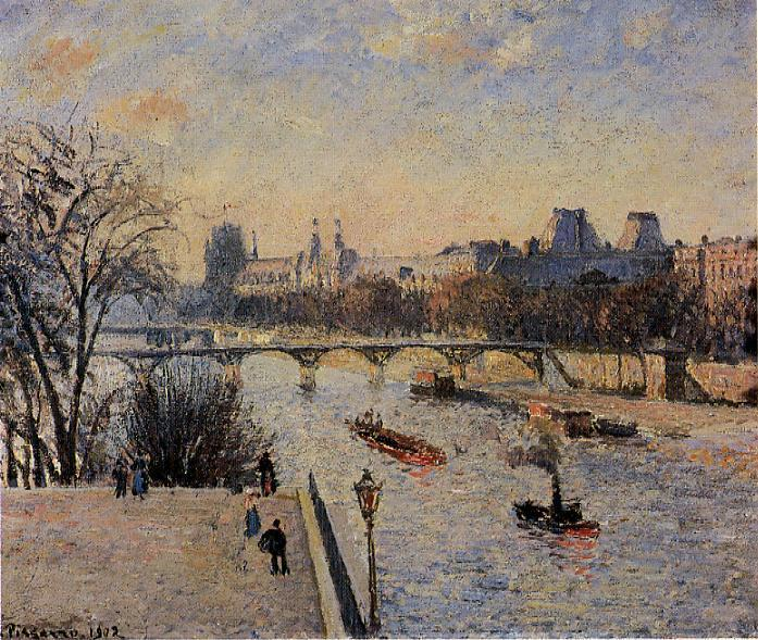 famous painting The Louvre 2 of Camille Pissarro
