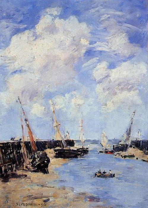 famous painting Trouville, the Jettys, Low Tide of Eugène Louis Boudin