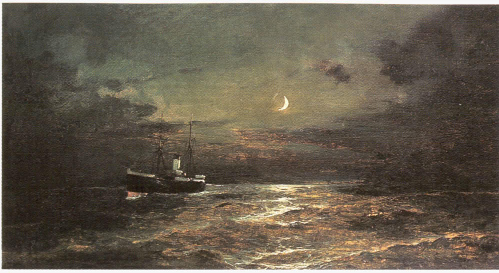 famous painting Boat at moonlight of Konstantinos Volanakis