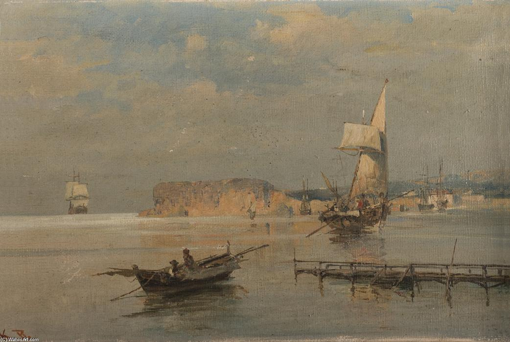 famous painting Boats in a port of Konstantinos Volanakis