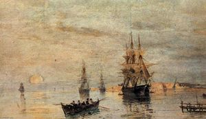 Konstantinos Volanakis - Sailing ships at dawn