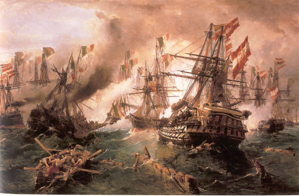 famous painting Naval battle at Lissa of Konstantinos Volanakis