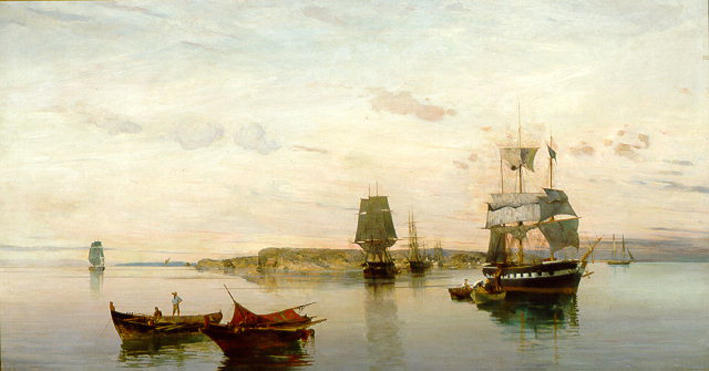 famous painting Anchored boats of Konstantinos Volanakis