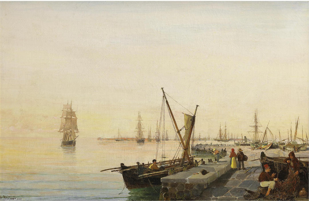 famous painting A busy harbour of Konstantinos Volanakis