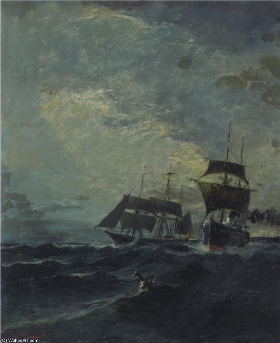famous painting Boats at the sea of Konstantinos Volanakis