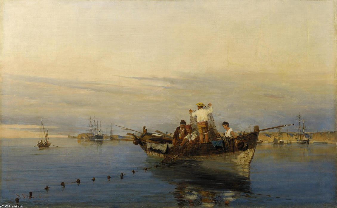 famous painting Casting the nets of Konstantinos Volanakis