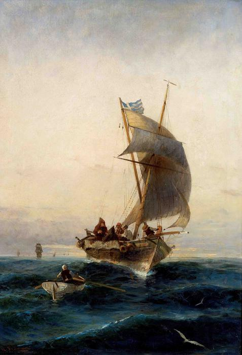 famous painting Fishing boat on choppy waters of Konstantinos Volanakis