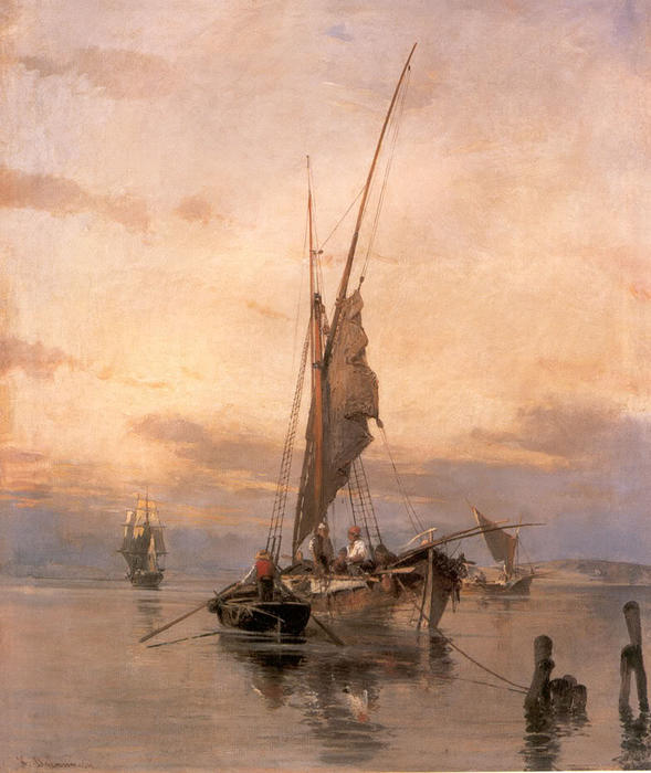 famous painting Fishing Boats of Konstantinos Volanakis