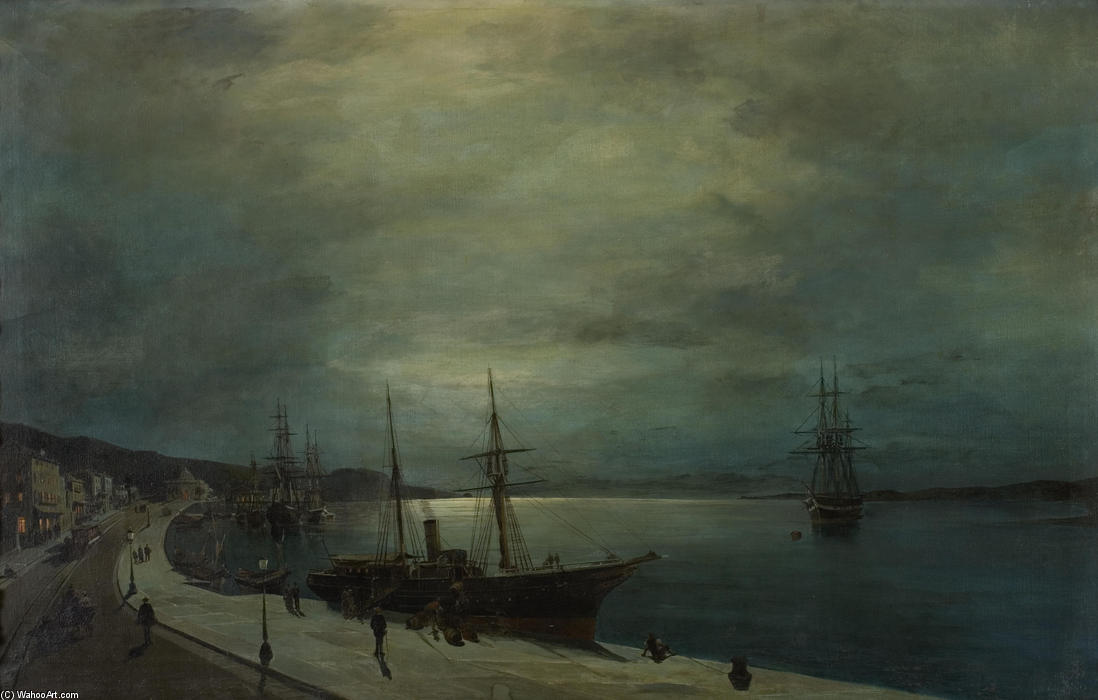 famous painting Moonlit harbour of Konstantinos Volanakis