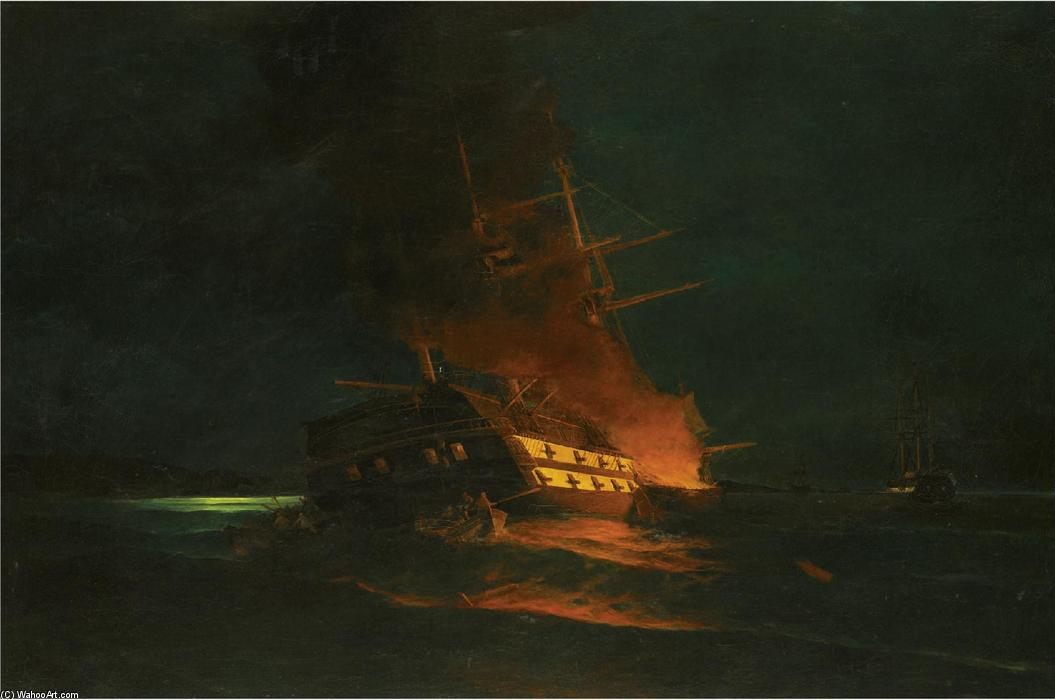 famous painting The burning of a Turkish frigate of Konstantinos Volanakis