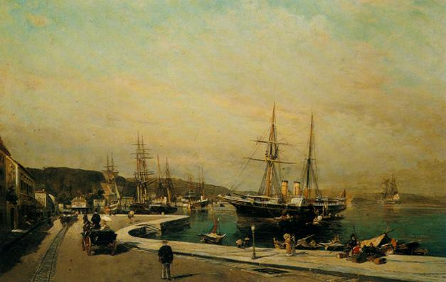 famous painting The port of Volos of Konstantinos Volanakis