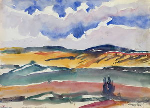 Martiros Saryan - Scene from the Train Window