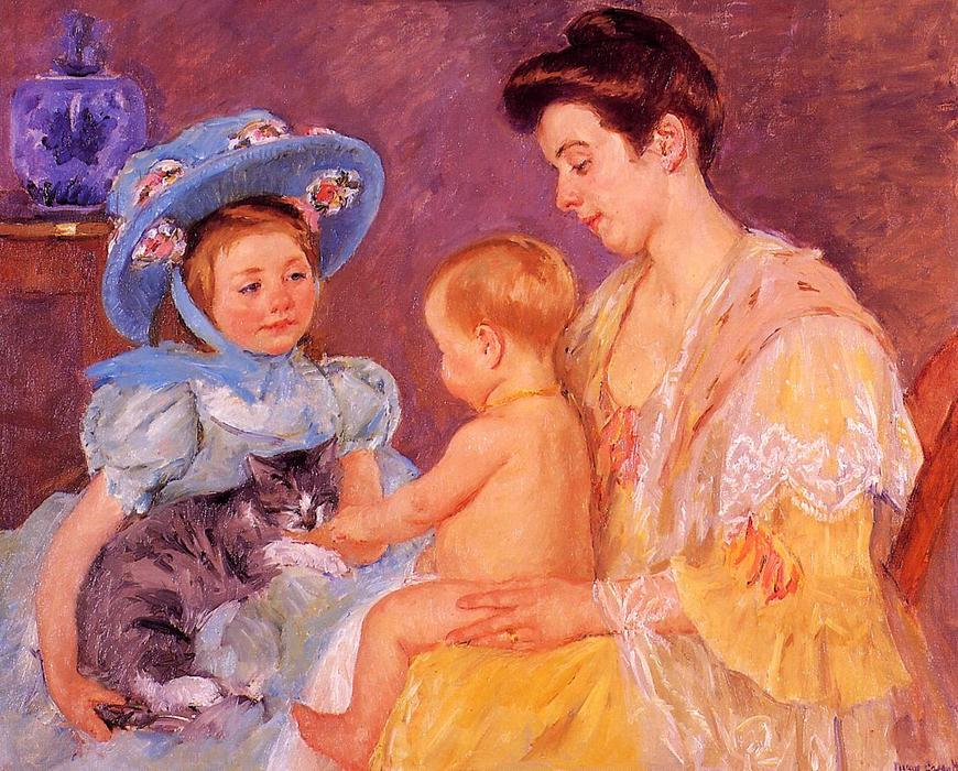 famous painting Children Playing with a Cat of Mary Stevenson Cassatt