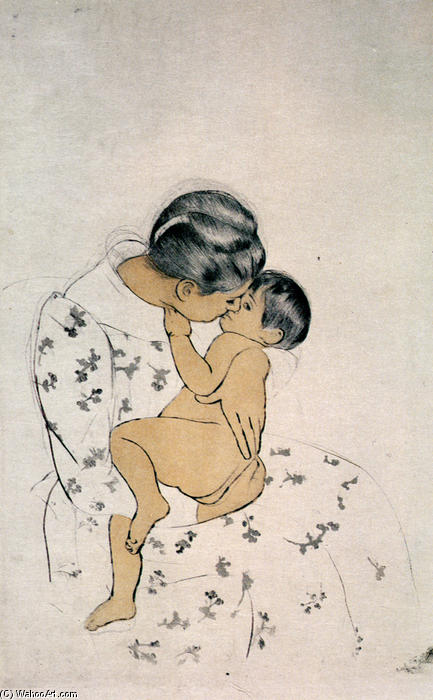 famous painting Mothers Kiss of Mary Stevenson Cassatt