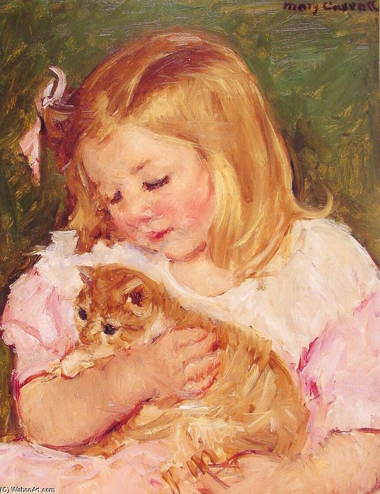 famous painting Sara Holding A Cat of Mary Stevenson Cassatt