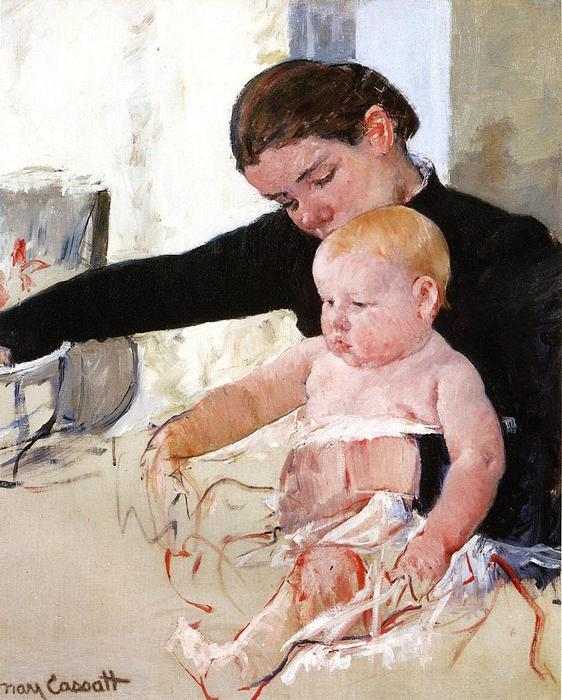 famous painting Bathing the Young Heir of Mary Stevenson Cassatt