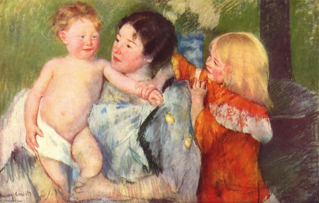 famous painting After the bath of Mary Stevenson Cassatt